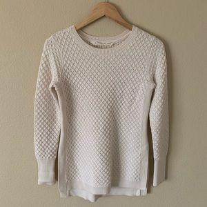 Athleta Knit Sweater Cream Side Slits